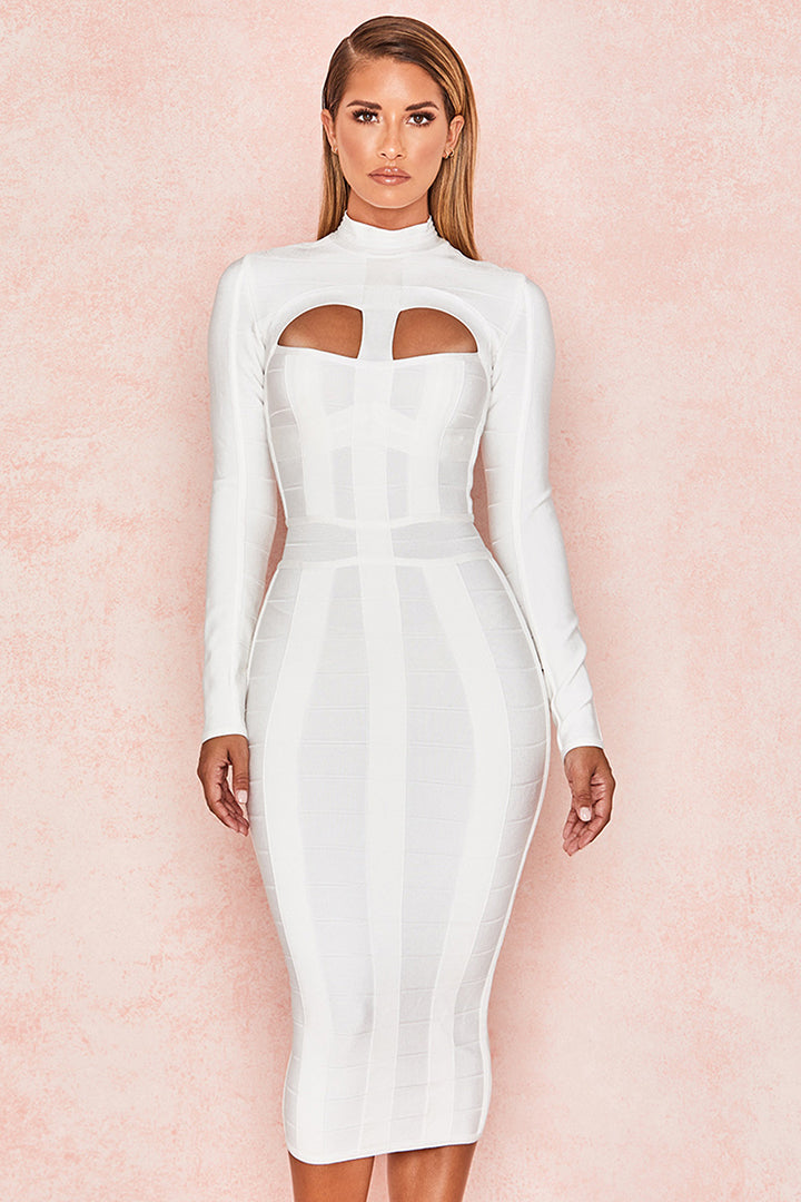 White Hollow Out Long Sleeve Bandage Dress