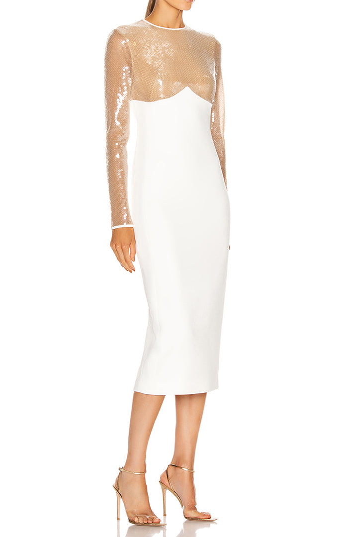 White Long Sleeve Sequin Midi Dress - CHICIDA