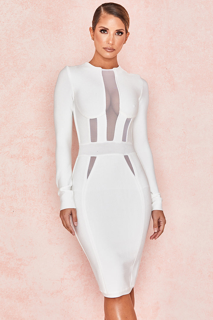White Mesh Long Sleeve Bandage Dress - CHICIDA