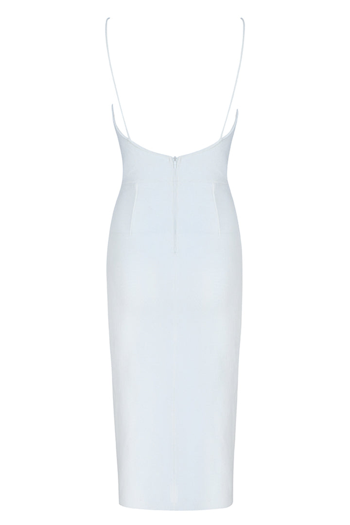 White Strappy Deep V Midi Bandage dress - CHICIDA