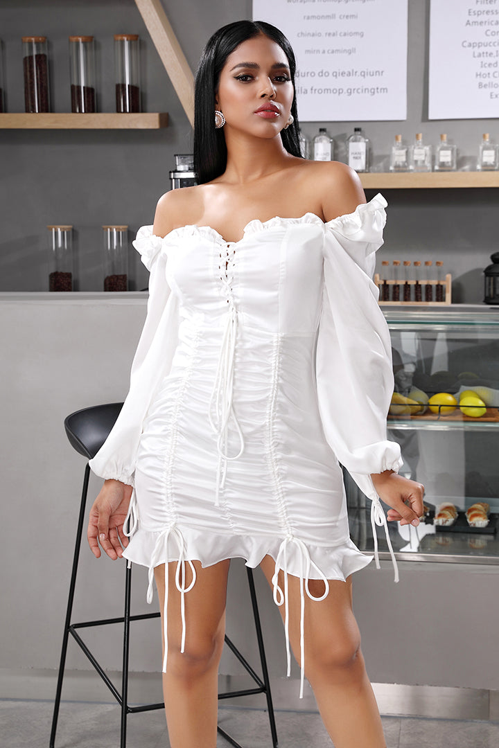 White Off-Shoulder Ruffle Mini Party Dress