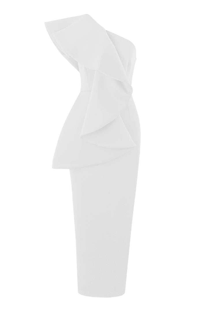 White Chic One-Shouldered Ruffles Maxi Dress
