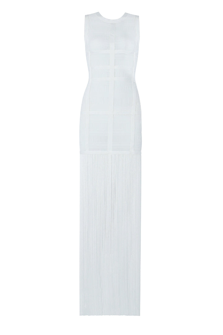 Length Tassel Lace White Bodycon Sheath Dress - CHICIDA