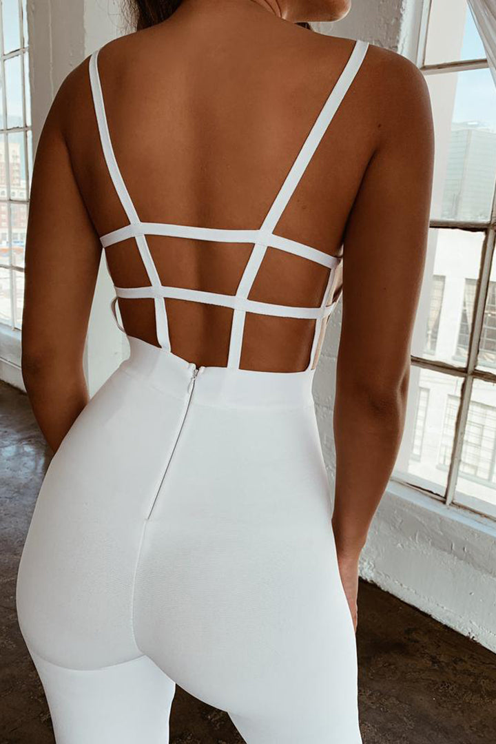 Slash Neck Backless Hollow Out Long Jumpsuit - CHICIDA