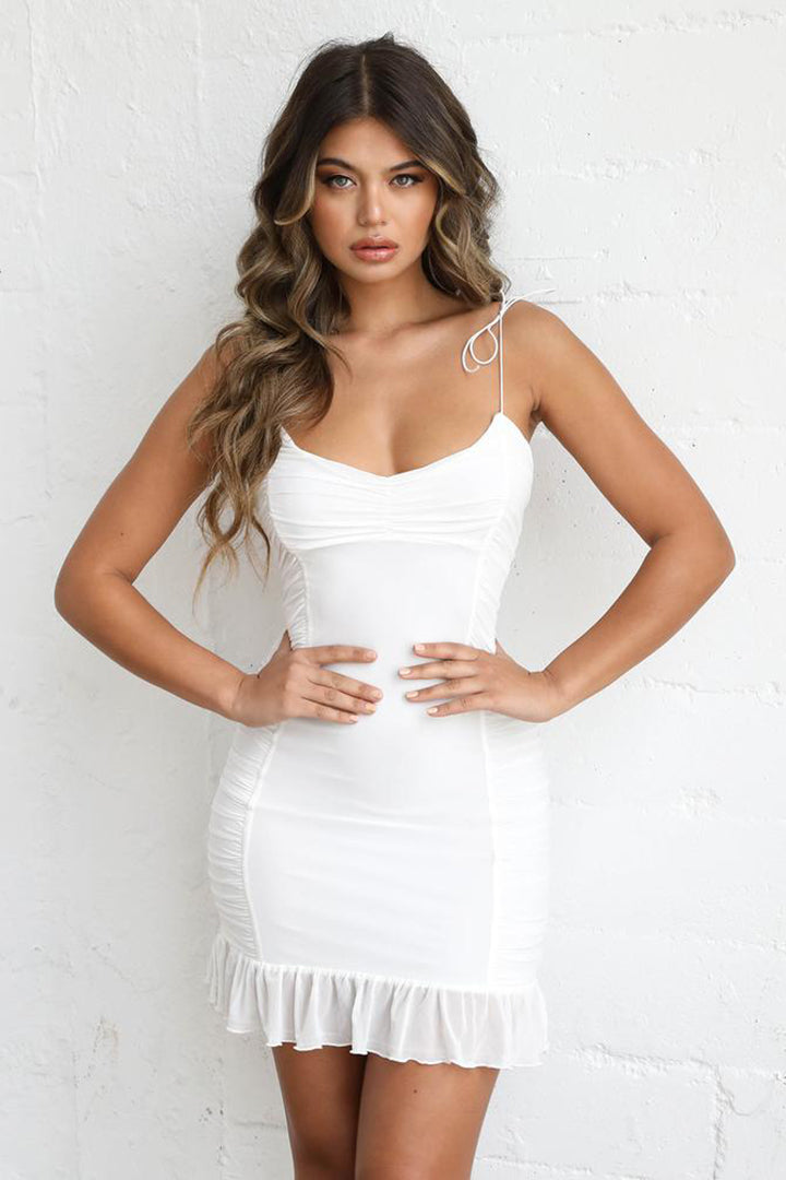 White Strappy Ruffle Mini Party Dress - CHICIDA