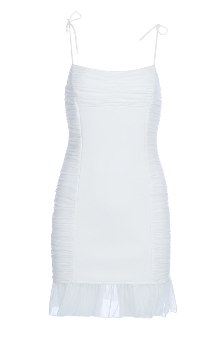 White Strappy Ruffle Mini Party Dress