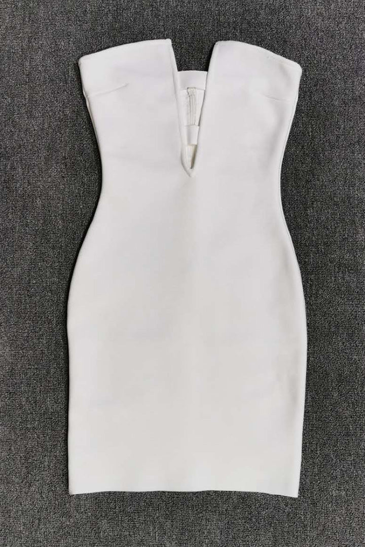 White Strapless Hollow Out Bandage Dress - CHICIDA