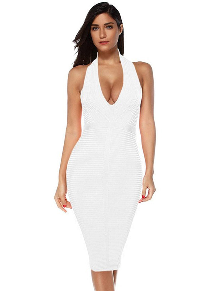 Deep V Stripe Bandage Dress - CHICIDA