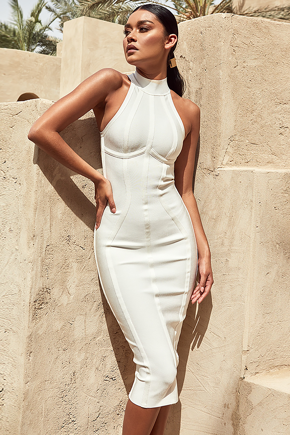 White Halter Midi Bandage Dress - CHICIDA