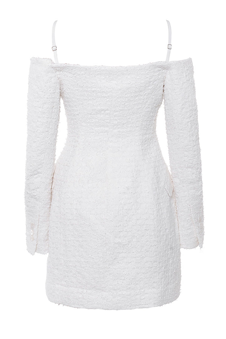 White Textured Linen Blazer Dress - CHICIDA