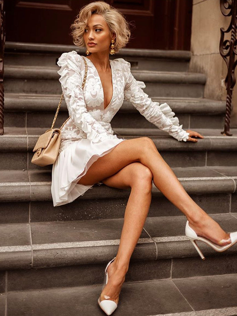White Long Sleeve Print Lace Up Dress - CHICIDA