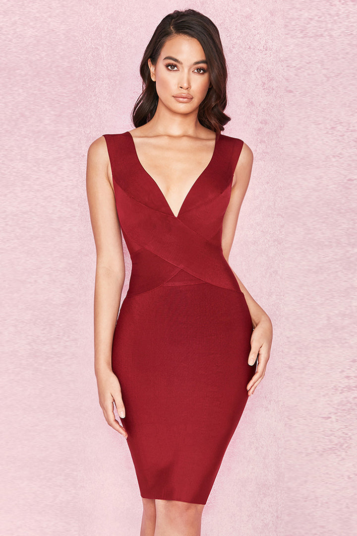 Wine Cross Front Bandage Dress