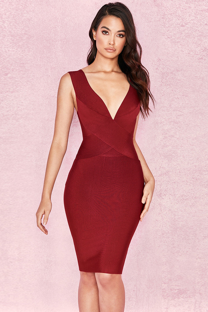 Wine Cross Front Bandage Dress - CHICIDA
