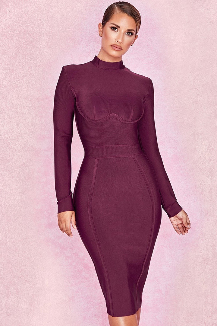 Wine Long Sleeve Bandage Dress