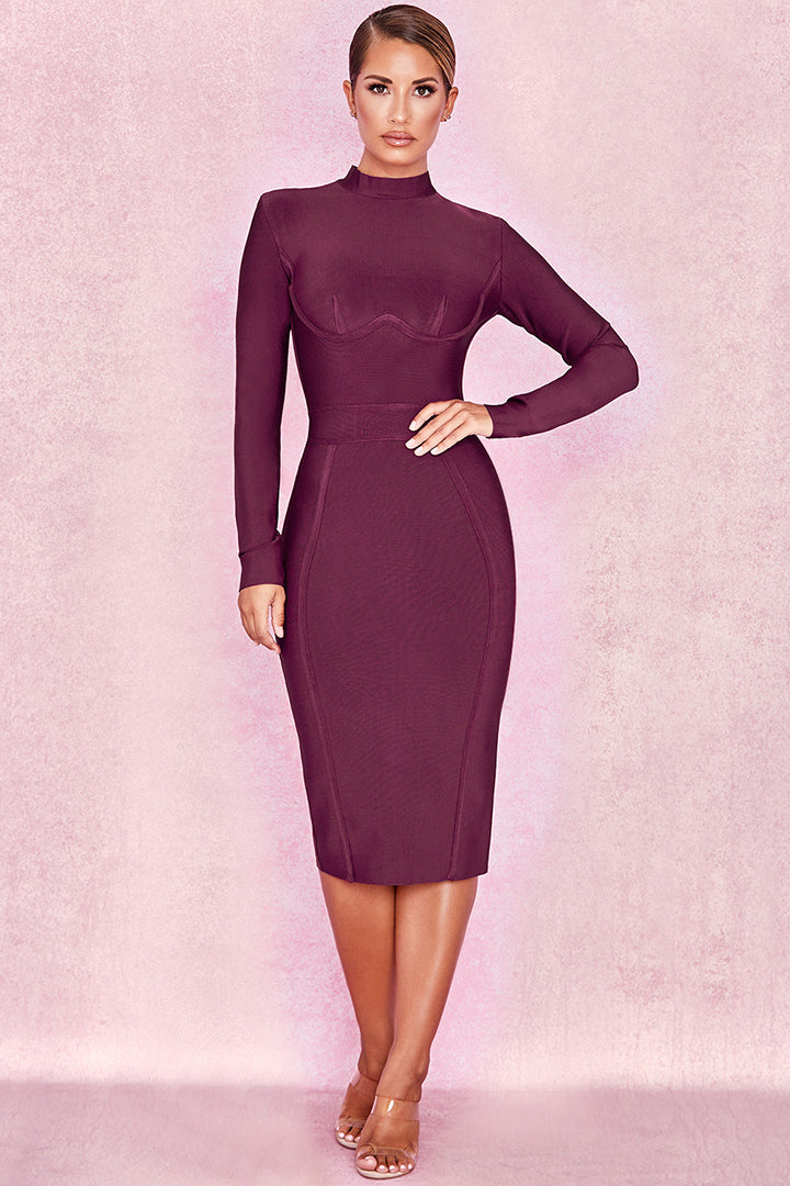 Purple Long Sleeve Bandage Dress - CHICIDA