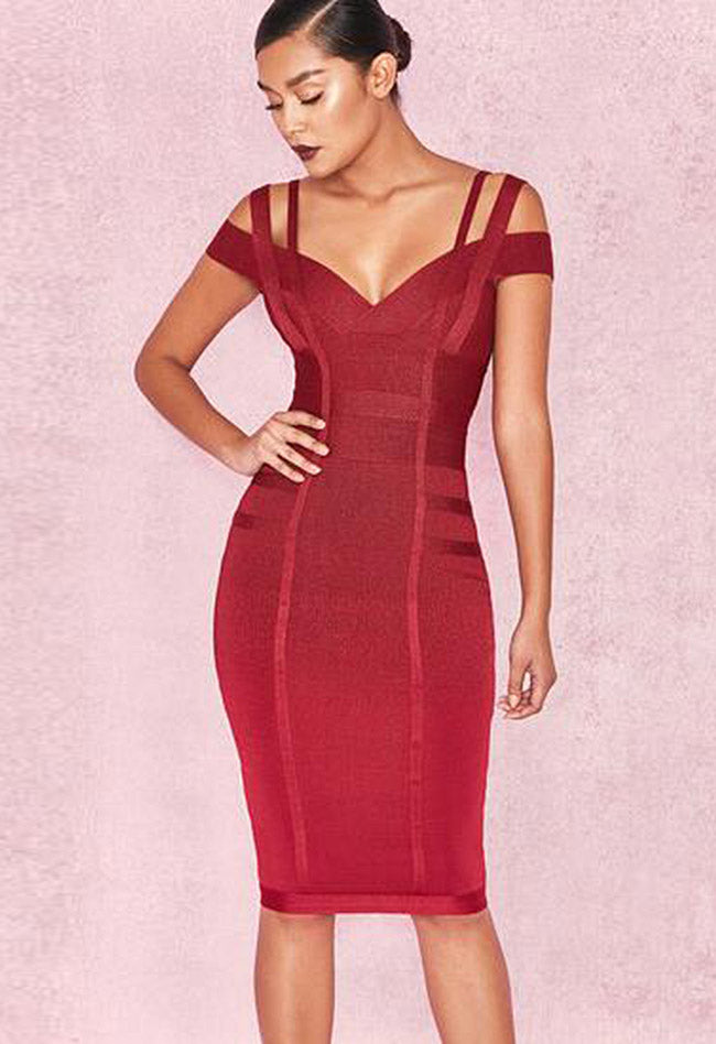 Wine Red Bandage Dress - CHICIDA