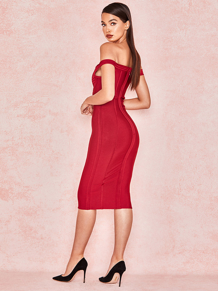 Red Off Shoulder Bandage Dress - CHICIDA