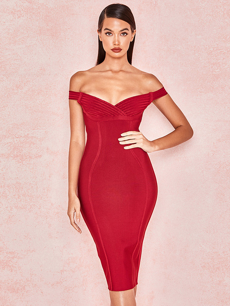 Wine Red Off Shoulder Bandage Dress