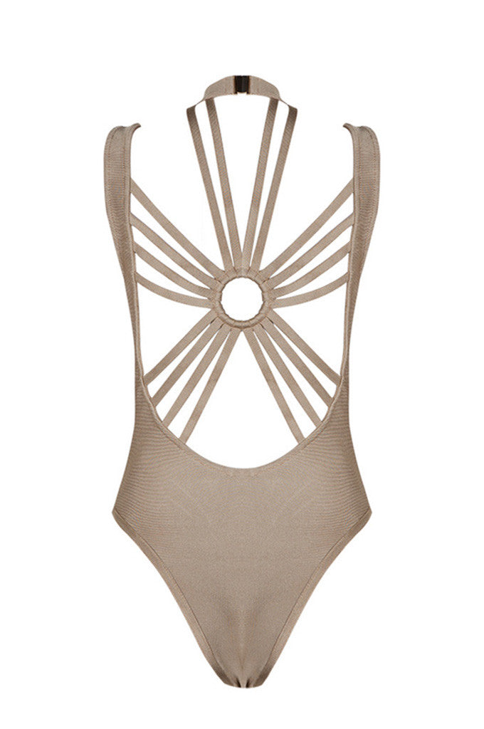 Criss Cross Backless Halter Sexy Bandage Bodysuit - CHICIDA