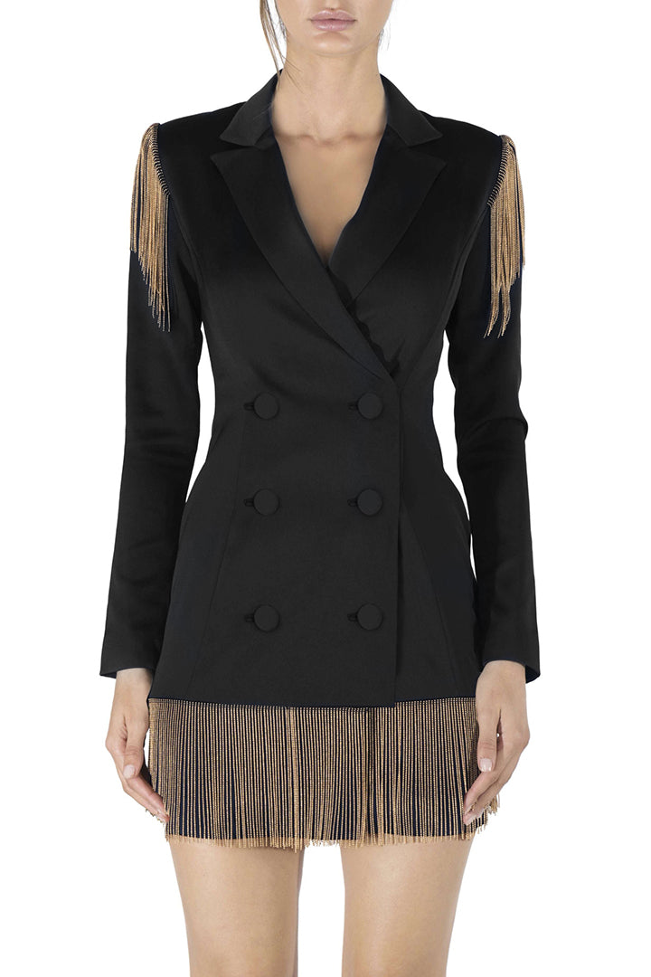 Solid Black Deep V Button Full Sleeve Tassel Suits