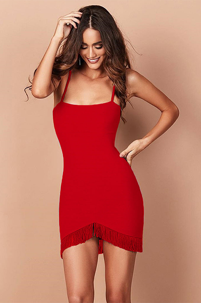 Spaghetti Strap Tassel Party Lady Sexy Bandage Dress - CHICIDA