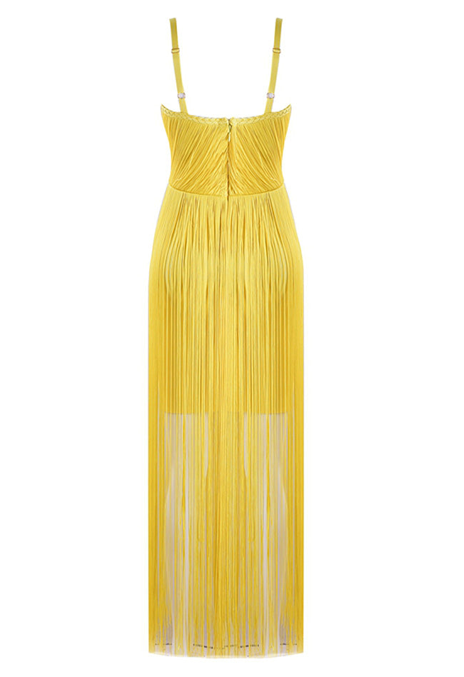 Tassel Satin Bandage Dress - CHICIDA