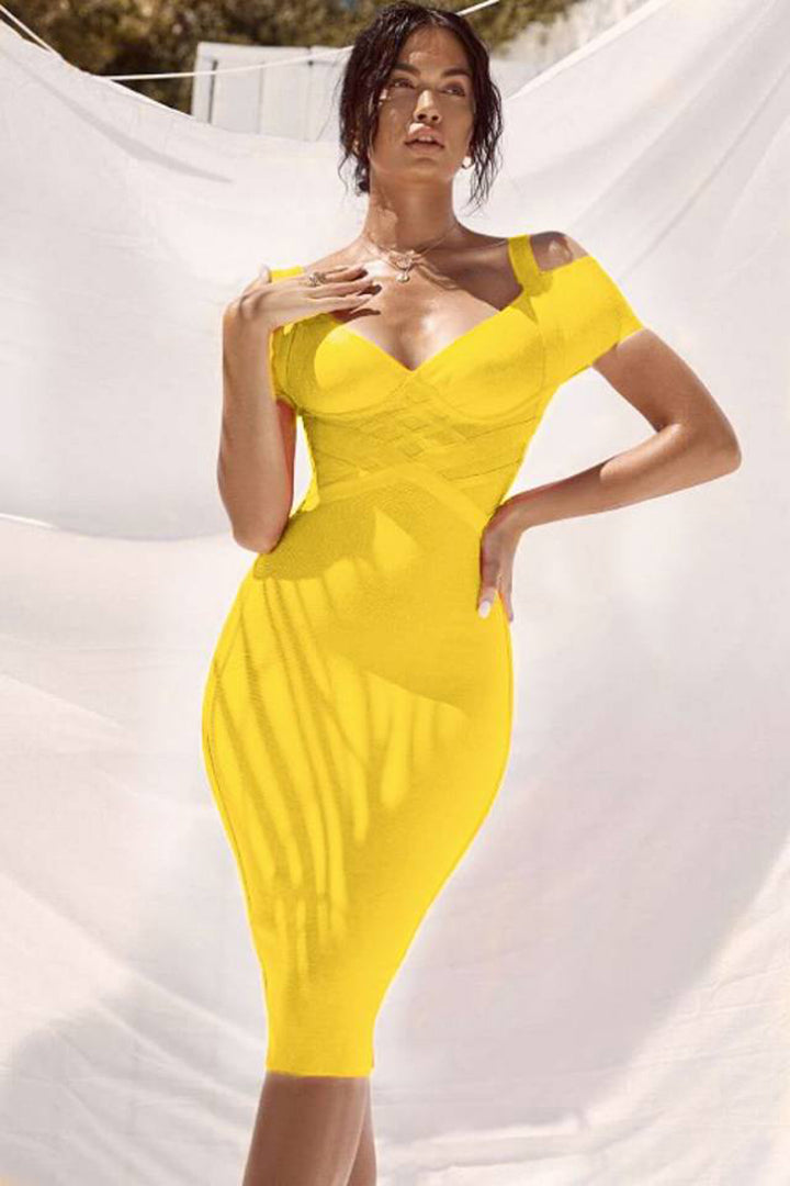 Off Shoulder Deep V Bandage Dress Blue/Orange/Yellow/Pink - CHICIDA