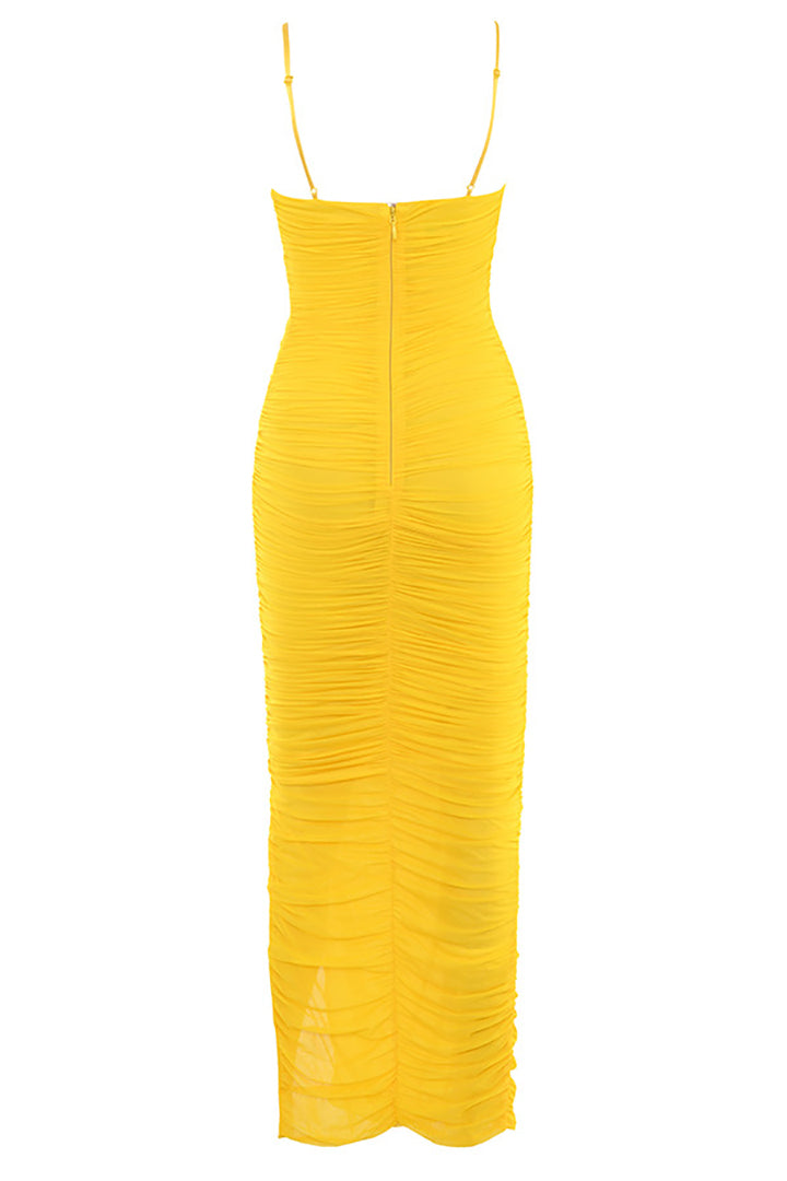Yellow Ruched Mesh Maxi Dress - CHICIDA