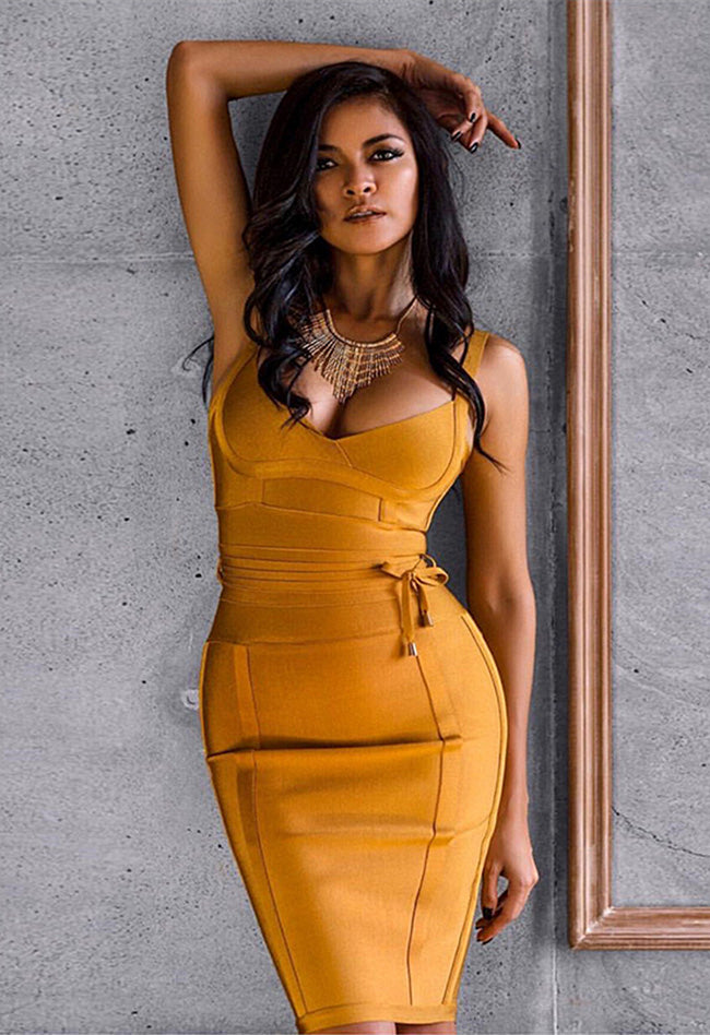 Deep V Spaghetti Strap Bandage Dress - CHICIDA