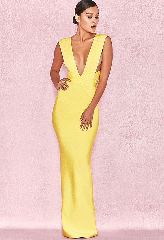 Yellow V-neck Maxi Bandage Dress