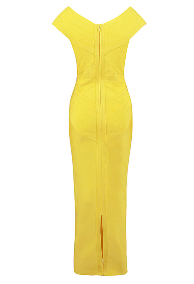 Yellow V-neck Maxi Bandage Dress - CHICIDA