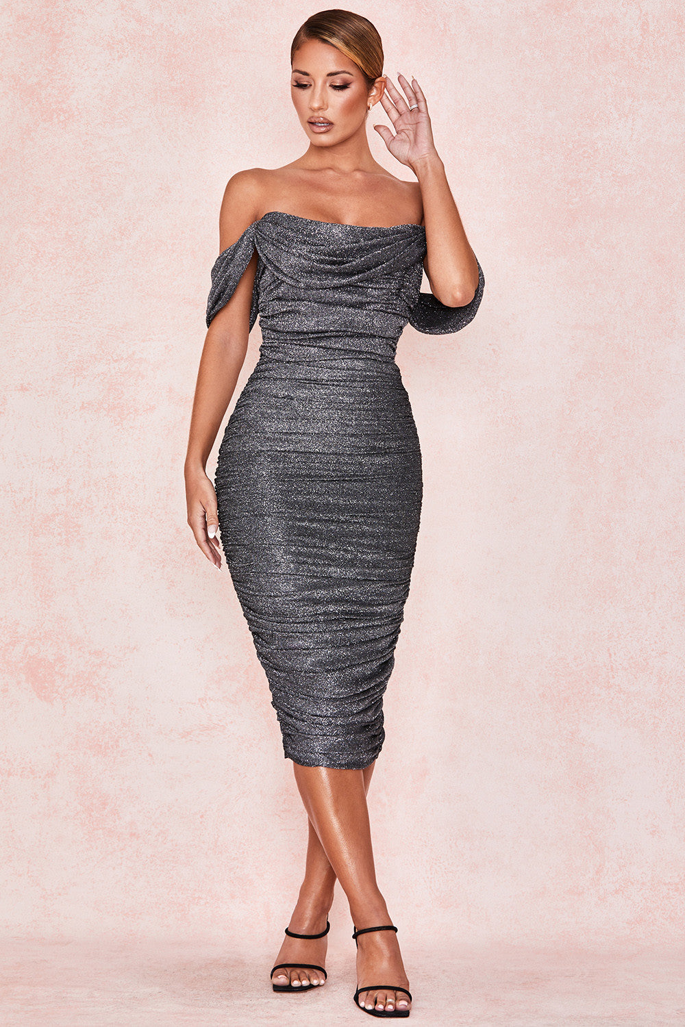 Grey Lurex Sparkle Off-shoulder Dress