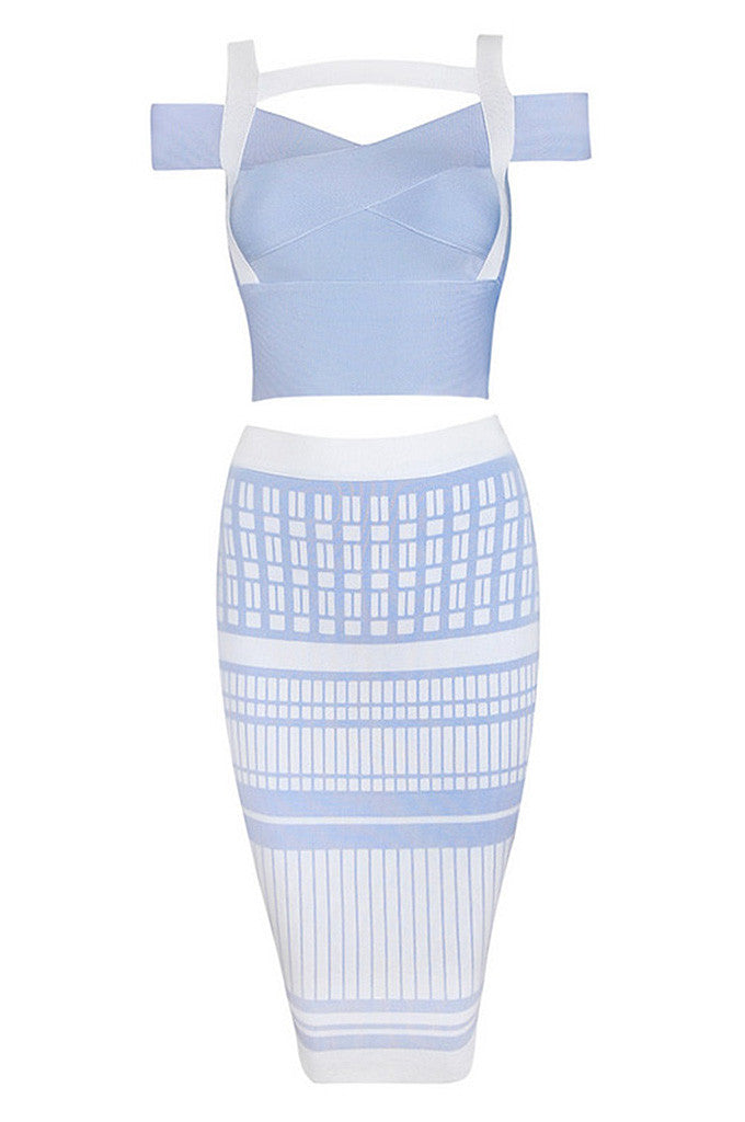 Miranda Kerr Blue Bandage Dress Set - CHICIDA