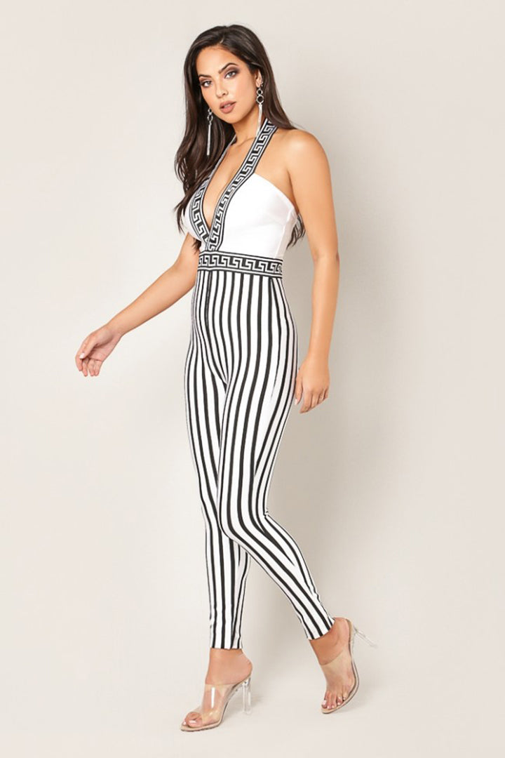 Low V neck Halter Jumpsuit - CHICIDA