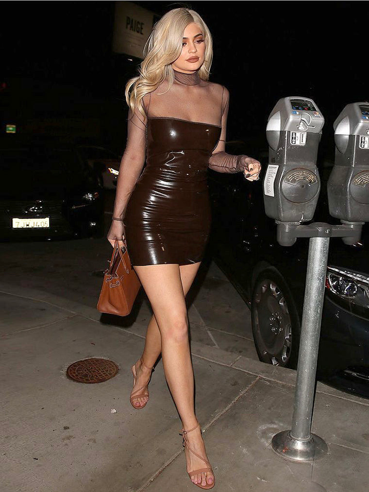 Kylie Jenner Brown Fitted Latex Mesh Dress - CHICIDA