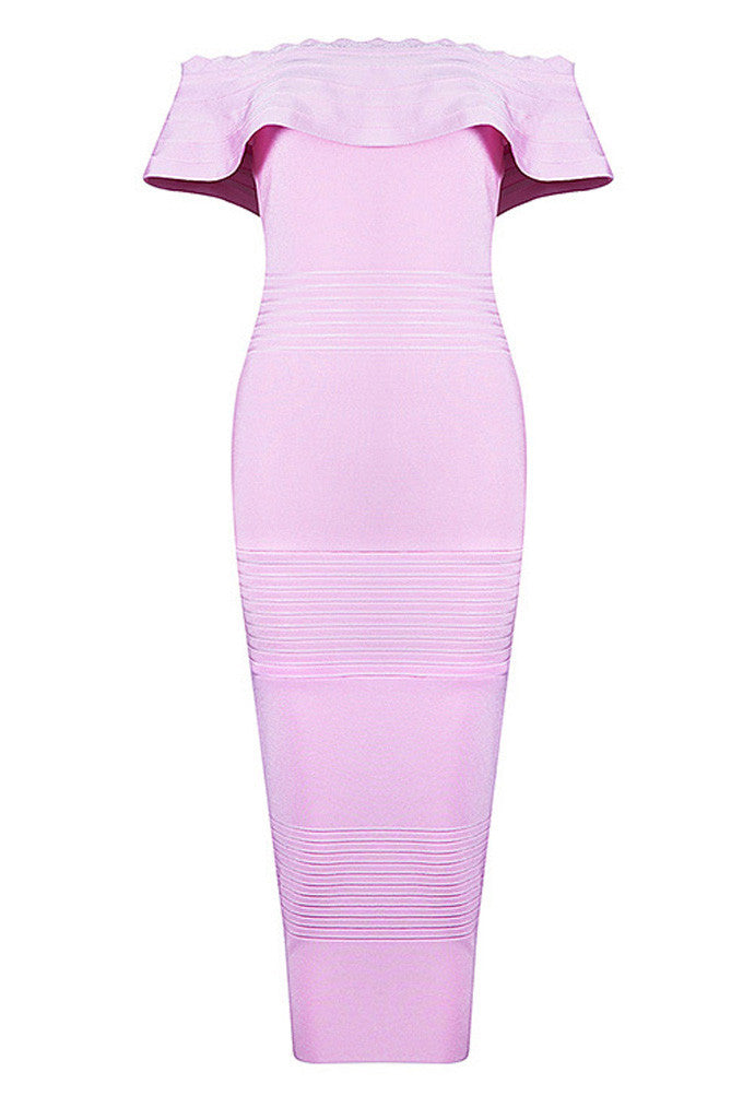Pink Off The Shoulder Ruffle Neck Bandage Cocktail Dresses - CHICIDA