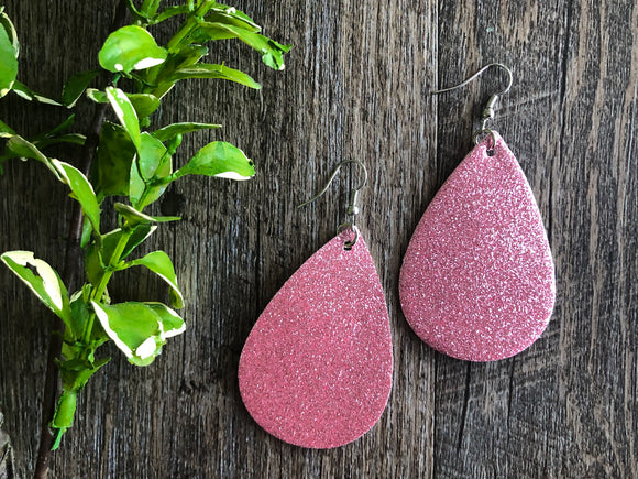 Valentines Light Pink Glitter Teardrop Faux Leather Earrings
