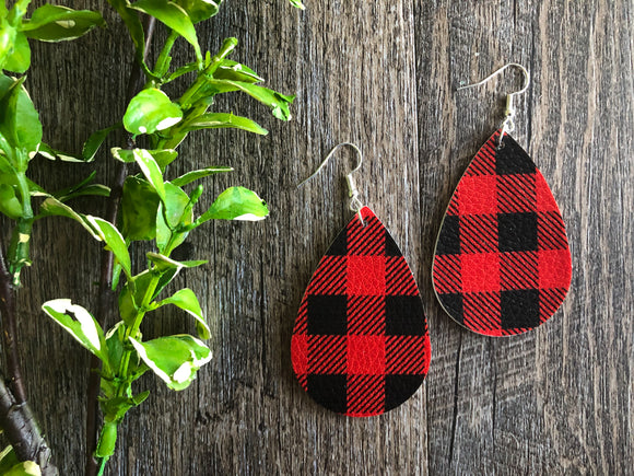 Valentines Buffalo Plaid Teardrop Faux Leather Earrings