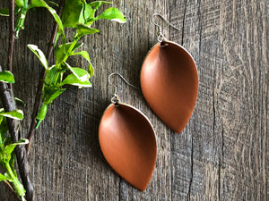 Light Brown Leaf Shape Faux Leather Earrings - Dream Lily Designs