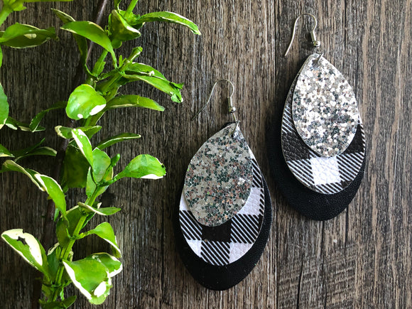 Black White Buffalo Plaid and Silver Glitter Triple Layer Leaf Shape Faux Leather Earrings - Dream Lily Designs
