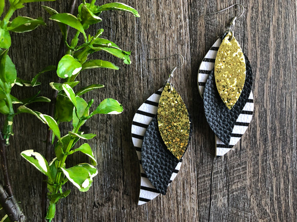 Black White Stripe Gold Glitter Triple Layer Twisted Leaf Faux Leather Earrings - Dream Lily Designs