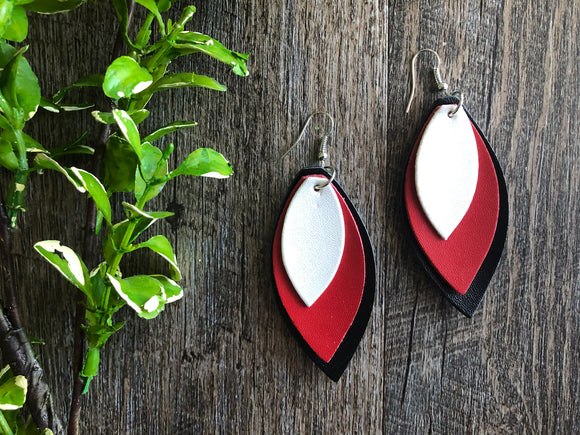 Red Black White Triple Layer Pointed Faux Leather Earrings - Dream Lily Designs