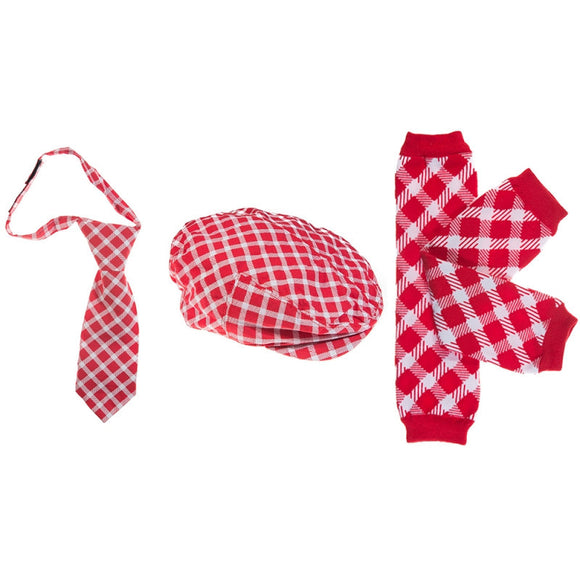 Boy Cabbie Hat, Tie and Legwarmer Set - Red White Plaid Set