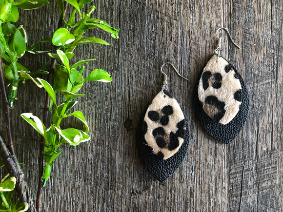 Fuzzy Cheetah Print Black Double Layer Leaf Shape Faux Leather Earrings - Dream Lily Designs