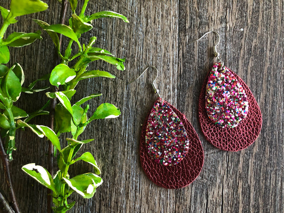 Double Layer Rainbow Glitter with Maroon Faux Leather Teardrop Shape Earrings - Dream Lily Designs