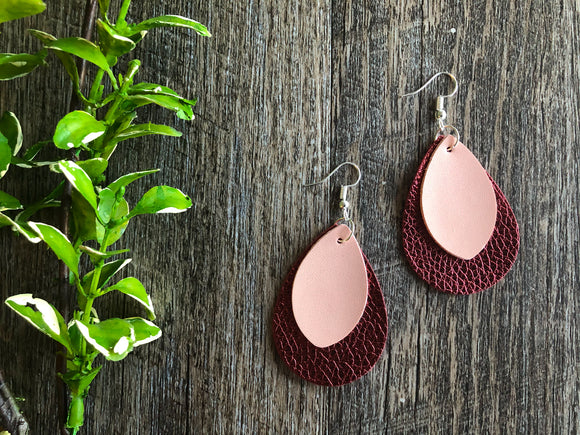 Double Layer Pink with Maroon Leaf Shape Faux Leather Earrings - Dream Lily Designs