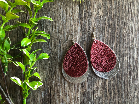 Double Layer Maroon with Silver Faux Leather Teardrop Shape Earrings - Dream Lily Designs
