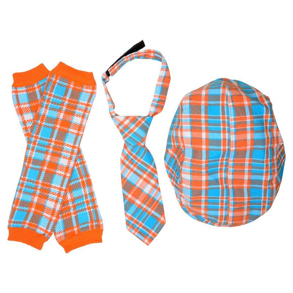 Boy Cabbie Hat, Tie and Legwarmer Set - Orange Blue Plaid - Dream Lily Designs