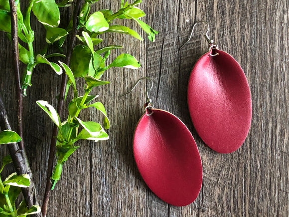 Deep Red Maroon Oval Faux Leather Curved Earrings - Dream Lily Designs