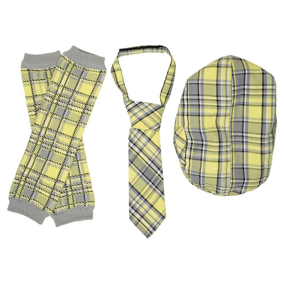 Boy Cabbie Hat, Tie and Legwarmer Set - Yellow Grey Plaid - Dream Lily Designs